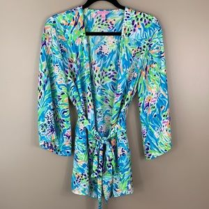 Lilly Pulitzer blue green kimono tunic top sm